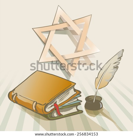 old books a feather and star of David - stock vector