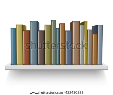 Old books on the shelf - stock vector