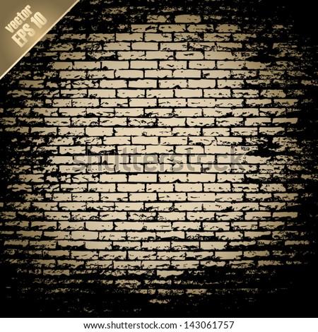 old brick wall - stock vector