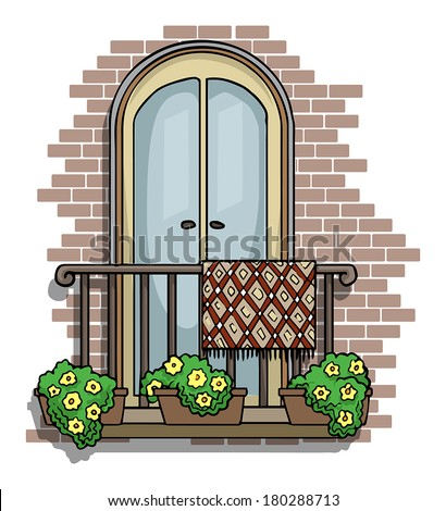 Decorative window stock photos images pictures for Balcony cartoon