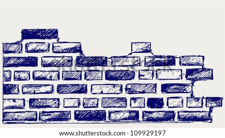 Old bricks. Sketch - stock vector