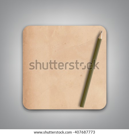 Old Brown Paper and Pencil Vector - stock vector