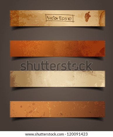 old brown paper stick with detailed shadow, vector illustration template design - stock vector