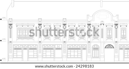 Old building facade - monument of culture - stock vector