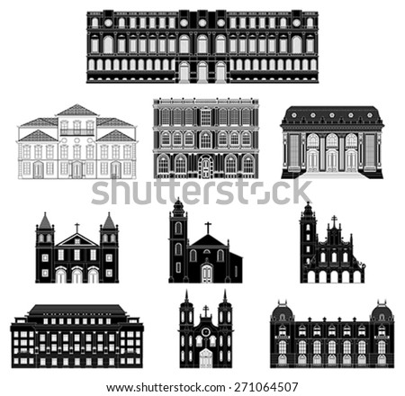 Old buildings. Ancient architecture in black on a white background. Vector illustration. - stock vector