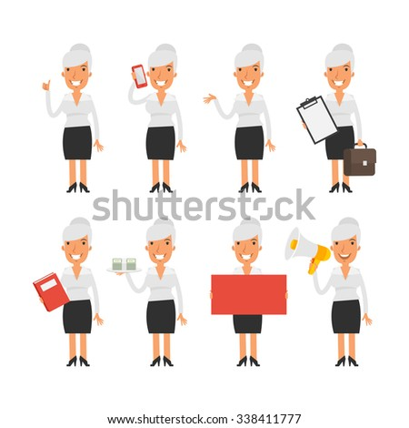 Old business woman in different poses - stock vector