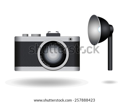 Old camera and flash  Vector illustration isolated on white background  - stock vector