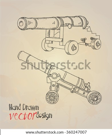 old cannon - stock vector