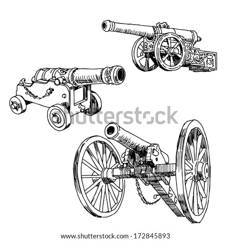 Old cannons drawings set on white background - stock vector