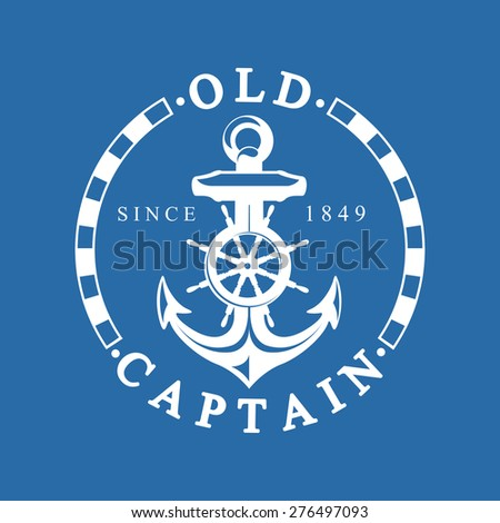 Old Captain Nautical Background With Anchor - stock vector