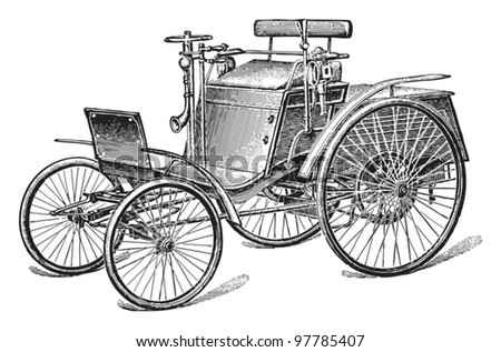 Old car (automobile) / vintage illustration from Meyers Konversations-Lexikon 1897 - stock vector