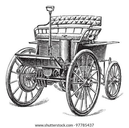 Old car (automobile) / vintage illustration from Meyers Konversations-Lexikon 1897 - stock vector
