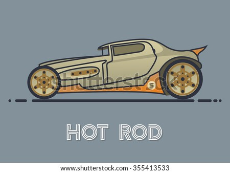 Old Car Hot Rod - stock vector