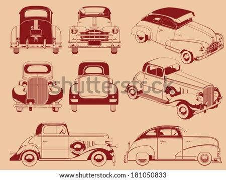 Old Car Silhouette in Several Positions - stock vector