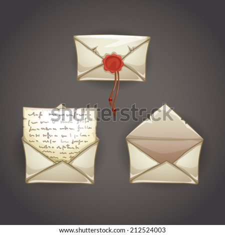 Old cartoon letter in three position - stock vector