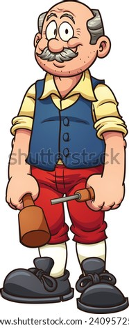 Old cartoon wood carver. Vector clip art illustration with simple gradients. All in a single layer. - stock vector