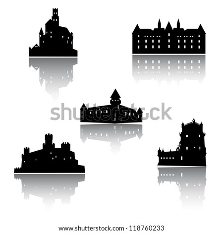 Old castle collection - stock vector