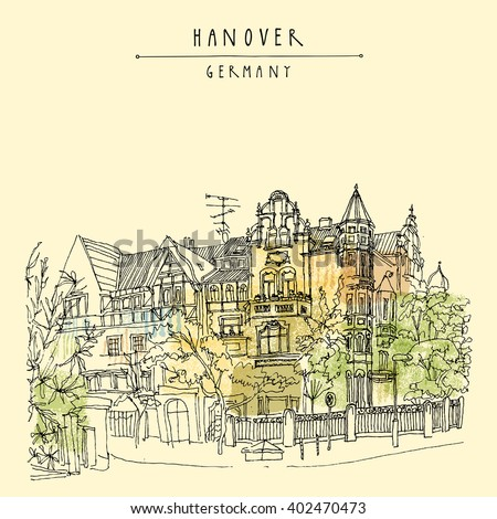 Old center of Hanover, Germany, Europe. Art Nouveau historical building, trees. Freehand drawing. Travel sketch. Vintage postcard, poster or book illustration. Vector - stock vector