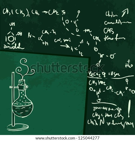 Old chemistry laboratory seamless pattern on dark green school board. Vector background - stock vector