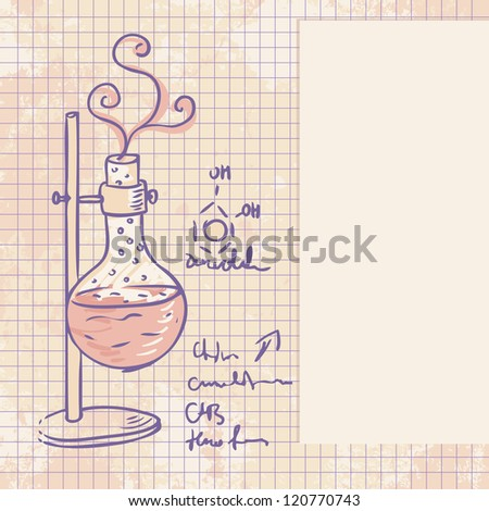 Old chemistry laboratory vector background in vintage style - stock vector