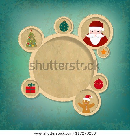 Old Christmas Web Design Bubbles And Santa Claus With Gradient Mesh, Vector Illustration - stock vector