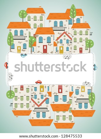 Old city background. Vector - stock vector
