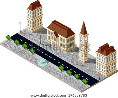 Old city block with buildings and pavement - stock vector