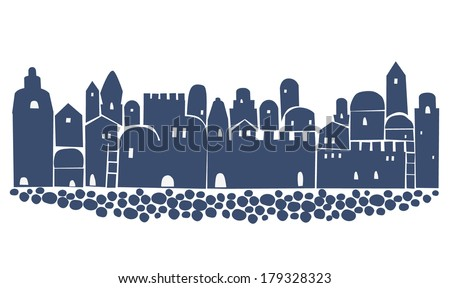 OLd City, Middle East Town, Illustration - stock vector