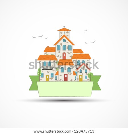 Old city theme background. vector - stock vector