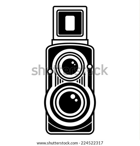 Old classic camera. Vintage collection. - stock vector