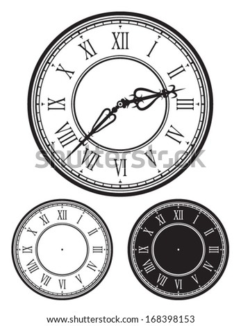Old Clock face, antique watch, Vector illustration with separate clock needles - stock vector