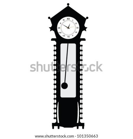 old clock vector illustration of art in black color - stock vector