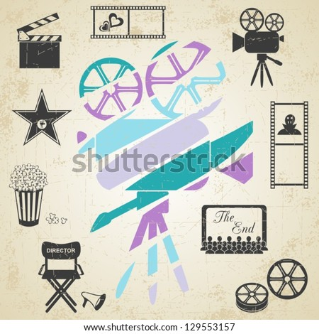 Old colorful movie camera with movie icons on retro grunge background - stock vector