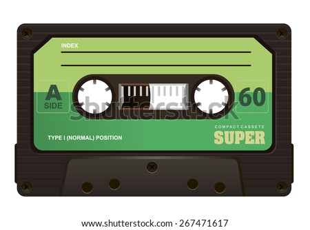 old compact audio cassette - stock vector