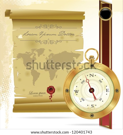 Old compass and rope on vintage map - stock vector