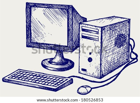 Old computer. Doodle style - stock vector