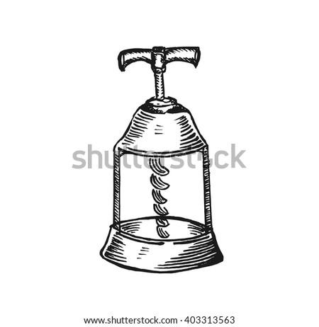old corkscrew sketch - stock vector