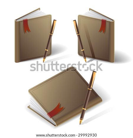 old diary and pen icons - stock vector