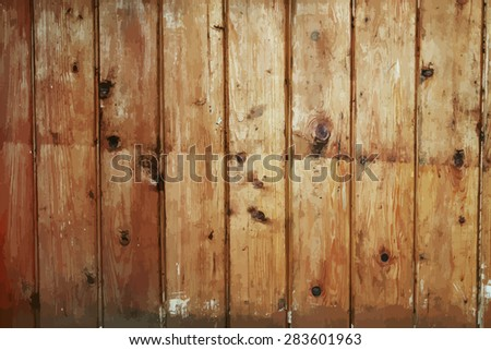 old dirty wooden wall, vector - stock vector