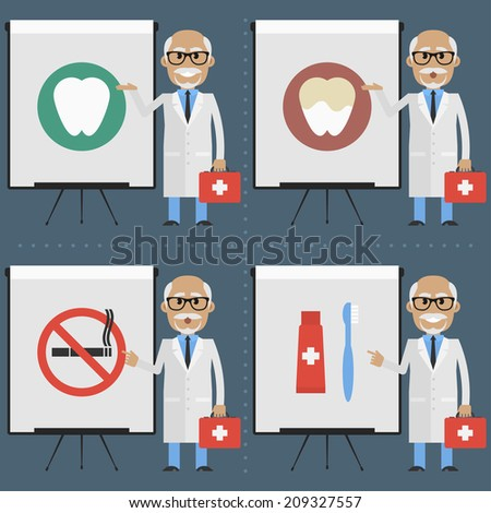 Old doctor stomatologist indicates on flipchart infographics - stock vector