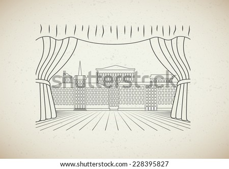 old drawing theatrical scene - stock vector