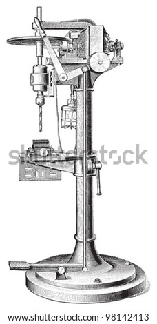 Old drilling machine / vintage illustration from Meyers Konversations-Lexikon 1897 - stock vector