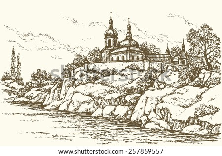Old edifice of orthodox monastery a stone wall in scaur over rivulet. Vector monochrome freehand ink drawn background sketchy in art doodle antiquity style pen on paper with space for text on sky - stock vector