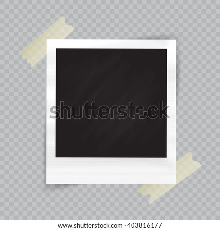 Old empty realistic photo frame with transparent shadow on checkered background. Border to family album. Vector illustration for your design and business. - stock vector