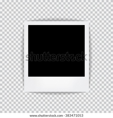 Old empty realistic photo frame with transparent shadow on plaid black white background. Photo border to family album. Make with gradient mesh tool. Vector illustration for your design and business. - stock vector