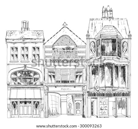 Old English town houses with small shops or business on ground floor. Bond street, London. Sketch collection - stock vector
