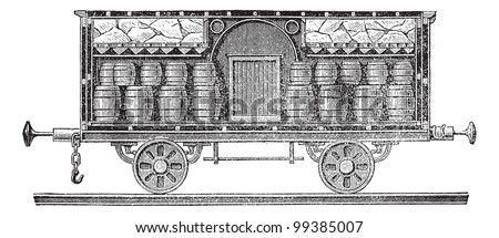Old engraved illustration of iced beer barrels on wagon for transporting. Industrial encyclopedia E.-O. Lami - 1875. - stock vector