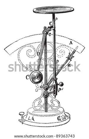 Old engraved illustration of Letter scale isolated on a white background. Industrial encyclopedia E.-O. Lami - 1875. - stock vector