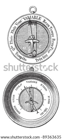 Old engraved illustration of Two Bourdon barometers isolated on a white background. Industrial encyclopedia E.-O. Lami - 1875. - stock vector