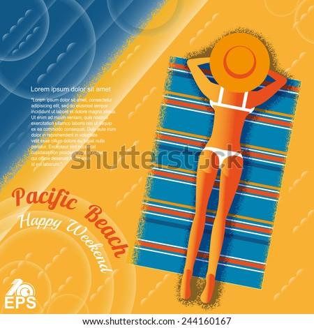 old fashion pop style print background with lady sunbathe on sand near ocean - stock vector